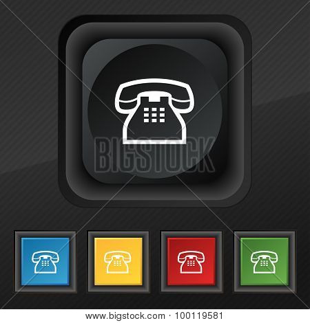 Retro Telephone Handset Icon Symbol. Set Of Five Colorful, Stylish Buttons On Black Texture For Your