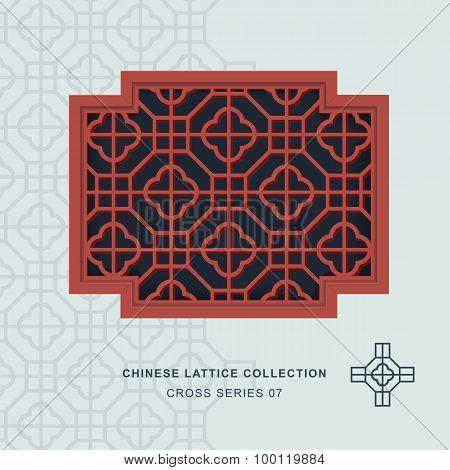 Chinese window tracery lattice cross frame 07 cross square