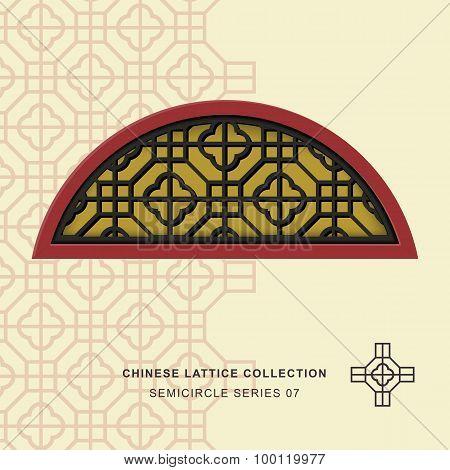 Chinese window tracery lattice semicircle frame 07 cross square