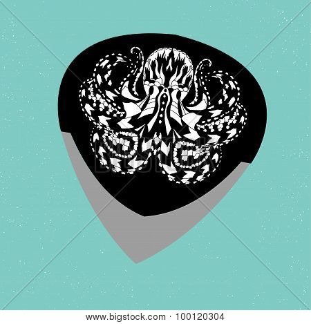 Guitar picks. Different types of musical plectrum silhouette