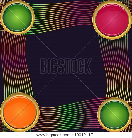 Frame Of Four Round Elements Of Different Sizes With Colorful Lines