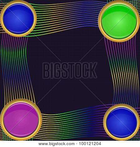 Frame Of Four Green, Violet And Blue Round Elements Of Different Sizes With Colorful Lines