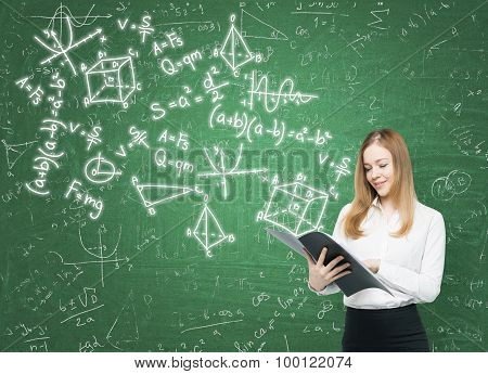 Young Lady Is Holding A Black Document Folder And A Range Of Math Formulas Are Drawn On The Green Ch
