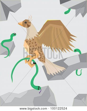 The eagle to hunt on green snakes.