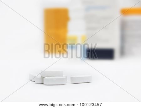 pills with bottle background