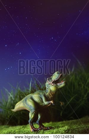 Tyrannosaurus toy on grass at night