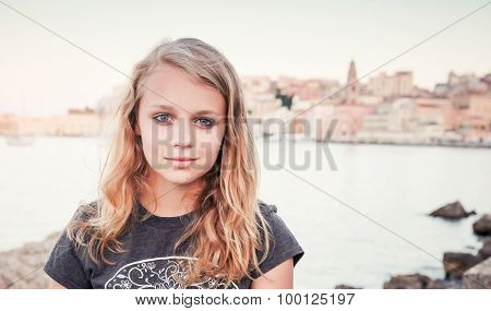 Outdoor Portrait Of Blond Caucasian Teenage Girl