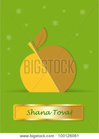 Greeting card gold apple with banner shanah tovah