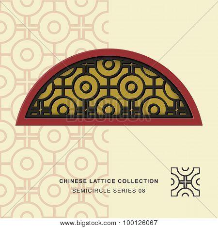 Chinese window tracery lattice semicircle frame 08 cross round