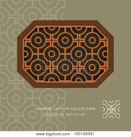Chinese window tracery lattice polygon frame 08 cross round