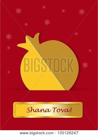 Greeting card gold pomegranate with banner shanah tovah