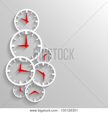 Paper Clock Abstract Background, Poster Or Flyer Template