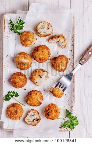 Fish Croquettes On  White  Background.