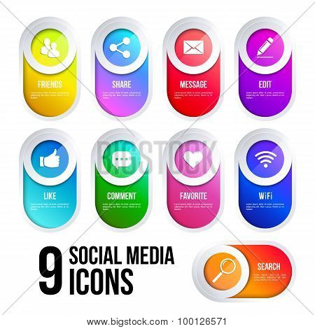 Colorful buttons with social and internet icons.