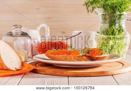Sandwich With Red Caviar, Butter And Dill.