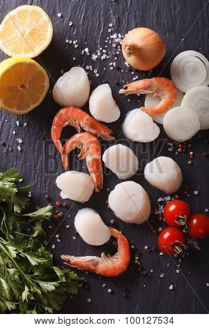 Raw Scallops And Shrimp With Vegetables. Vertical Top View