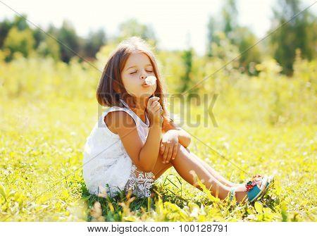 Cute Little Girl Child Blowing Dandelion Flower In Sunny Summer Day