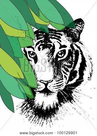 Tiger Under Leafes