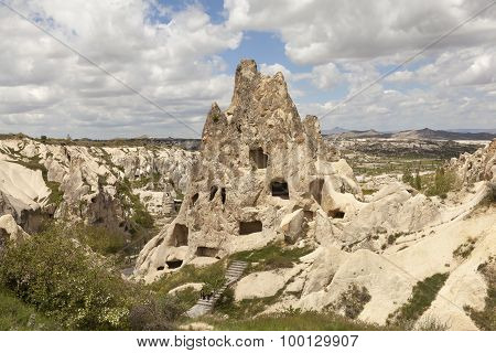 Cappadocia, Turkey. Landscape with caves in the rocks in the National Park of Goreme.
