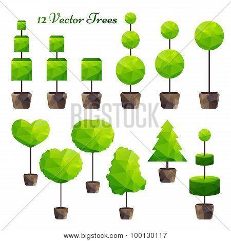 Vector Set Of 12 Green Polygonal Trees