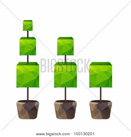 Vector Triangle Tree In Pot
