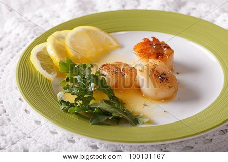 Delicious Fried Scallops With Sauce And Lemon On A Plate. Horizontal