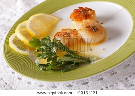 Delicious Grilled Scallops With Sauce And Lemon On A Plate. Horizontal