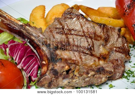 Cooked meat, lamb chops