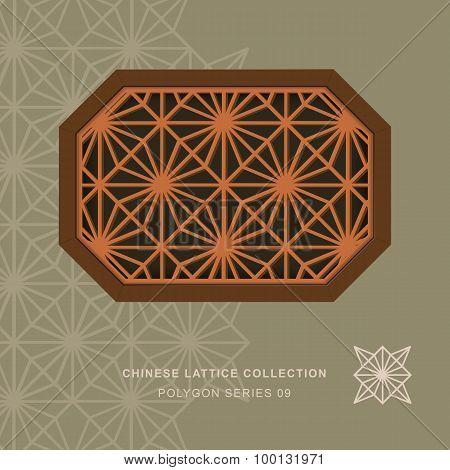 Chinese window tracery lattice polygon frame 09 diamond flower