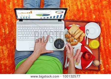 Laptop And Breakfast