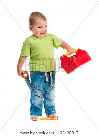 little boy with toys crying isolated on white background