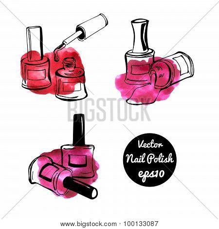 Vector Nail Polish Bottles