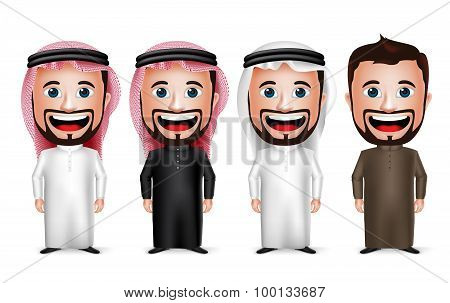 3D Realistic Saudi Arab Man Cartoon Character Wearing Different Traditional Thobe