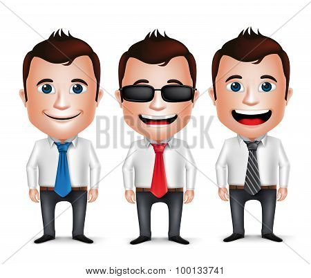 3D Realistic Businessman Cartoon Character Wearing Long sleeve Business Attire