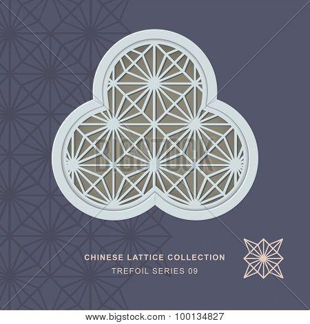 Chinese window tracery lattice trefoil frame 09 diamond flower