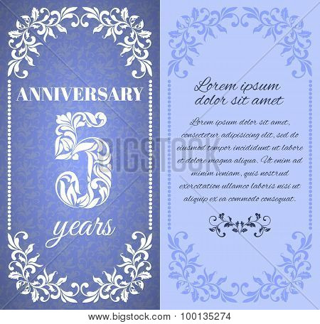Luxury template with floral frame and a decorative pattern for the 5 years anniversary. There is a p