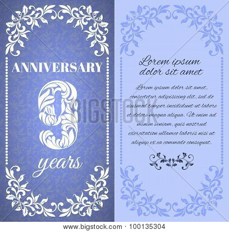Luxury template with floral frame and a decorative pattern for the 9 years anniversary. There is a p