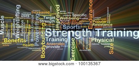 Background concept wordcloud illustration of strength training glowing light