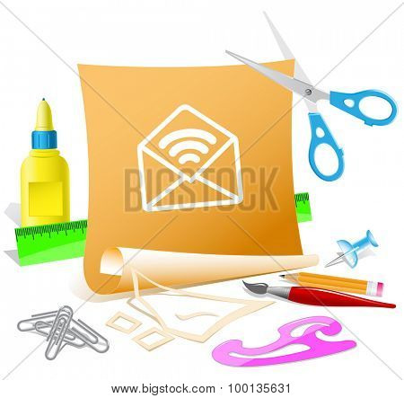 open mail with sound. Paper template. Vector illustration.