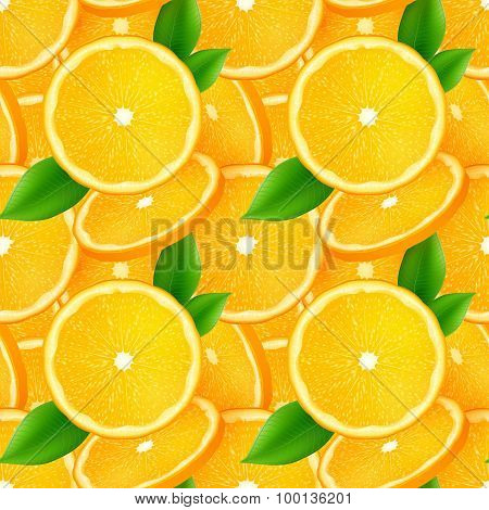 Juicy orange slices with green leaves seamless pattern