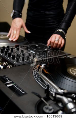 Female Rnb Deejay Playing Turntables