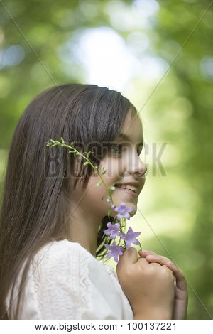 Portrait Of Small Girl Outdoor
