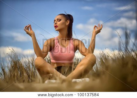 Sexual Woman Relaxing Outdoor