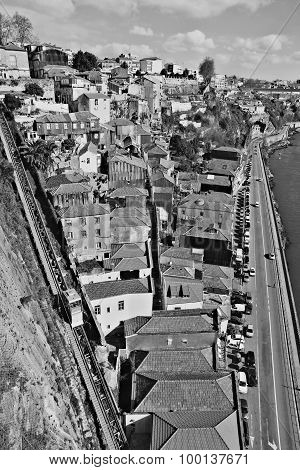 Portugal. Porto City. Old Historical Part Of Porto. In Black And White
