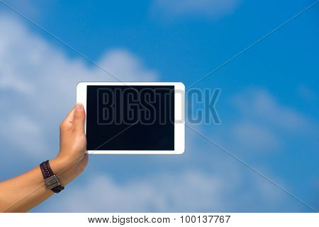 Concept Of Internet And Communication. Blank Empty Tablet Computer In The Hands Of Women On The Sky