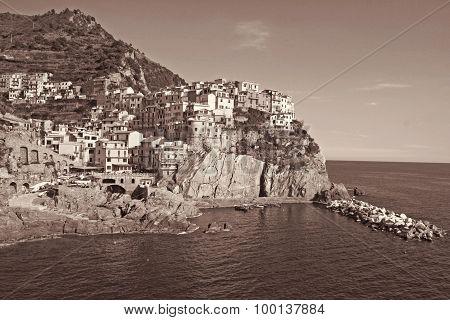 Italy. Cinque Terre. Manarola Village. In Sepia Toned. Retro Style