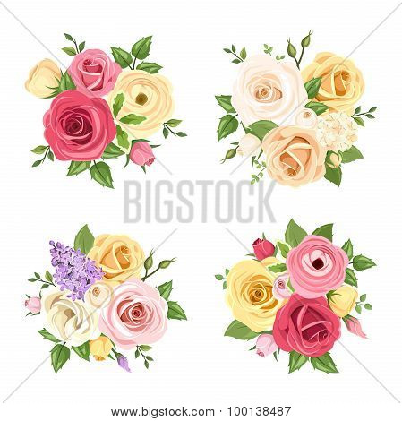 Bouquets of colorful flowers. Vector set of four illustrations.