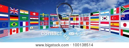 Contact Concept , Headset With Flags On Sky, And Contact Us Text
