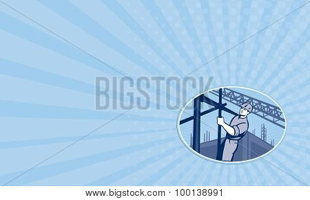 Business Card Construction Worker Scaffolding Retro