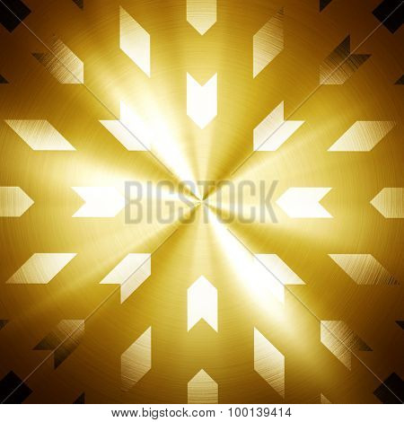 golden metal plate with arrow pattern
